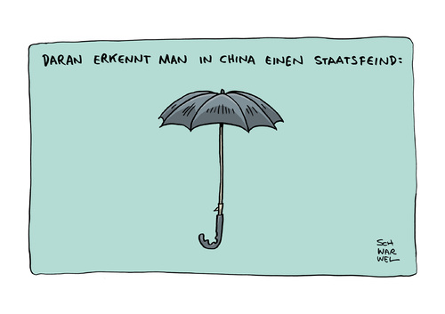 Cartoon: Regenschirm Revolution Peking (medium) by Schwarwel tagged hongkong,regenschirm,revolution,peking,regime,staat,staatsmacht,gewalt,karikatur,schwarwel,staatsfeind,hongkong,regenschirm,revolution,peking,regime,staat,staatsmacht,gewalt,karikatur,schwarwel,staatsfeind