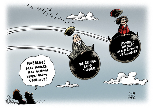 Cartoon: Rentenreform Nahles Versprechen (medium) by Schwarwel tagged rentenreform,nahle,versprechen,gerechte,rente,münchhausen,check,blüm,altersarmut,alter,pension,arm,armut,rentner,karikatur,schwarwel,rentenreform,nahle,versprechen,gerechte,rente,münchhausen,check,blüm,altersarmut,alter,pension,arm,armut,rentner,karikatur,schwarwel