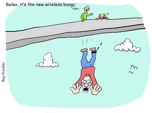 Cartoon: wireless bungy (medium) by roy friedler tagged wireless,bungy