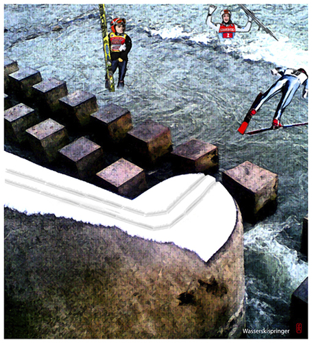 Cartoon: Wasserskispringer (medium) by edda von sinnen tagged waterski,springen,fliegen,klimaerwärmung,edda,von,sinnen,composing,illustration