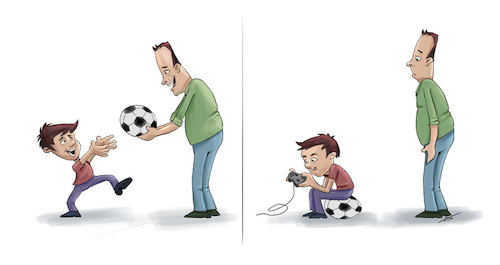 Cartoon: New football generation (medium) by tinotoons tagged football,father,son,ball,gameplay