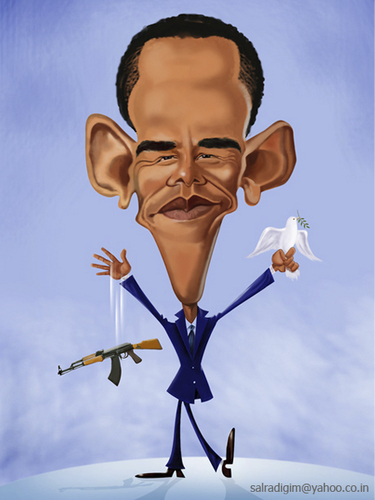 Cartoon: Barack Hussein Obama (medium) by Abdul Salim tagged barack,obama,caricature,photoshop