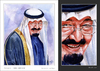 Cartoon: King Abdulla - Portrait (small) by Abdul Salim tagged portrait,stages,watercolor,king,abdulla,art,saudi,arabia