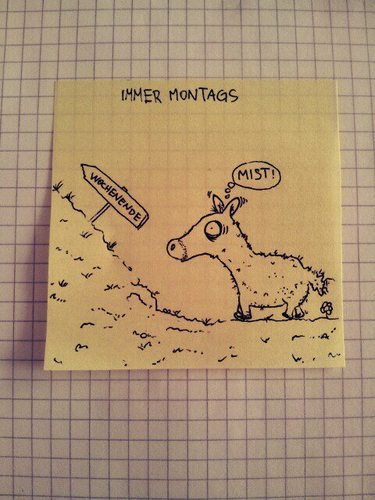 Cartoon: Montag! (medium) by Post its of death tagged pferd,pony