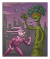 Cartoon: Ultrabunny Versus King Broccoli (small) by kernunnos tagged spivit,fungler,dooters,frusty,filibustering,dingswappers