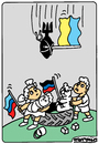 Cartoon: Flags in South-East Ukraine (small) by Igor Kolgarev tagged flags,war,donbass,lugansk,donetsk,ukraine,bomb