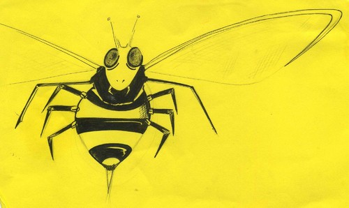 Cartoon: Wasp (medium) by claretwayno tagged wasp,sting,stripe,hornet,bee,bumble,yellow,black
