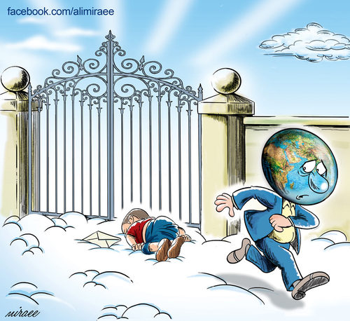 Cartoon: waif child! (medium) by Ali Miraee tagged turkey,child,waif,drowned,boy,syrian,kurdi,aylan,miraee,ali