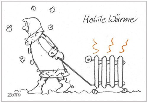 Cartoon: Mobile heat (medium) by Zotto tagged erkältungen,frost,winter