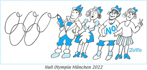 Cartoon: Null Olympia München 2022 (medium) by Zotto tagged massentourismus,kosten,umwelt