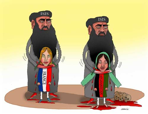 Cartoon: France and Afghanistan victim of (medium) by Shahid Atiq tagged afghanistan,kabul,isis,terrorism,taliban