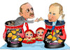 Cartoon: Russia and Turkey Ties (small) by Afghancartoon tagged afghanistan,kabul,syria,iran,switzerland,schweiz,usa,france,football,safi,cartooneu,uk,putin,erdogan,raiyan,shahid