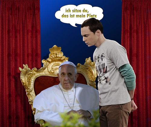 Cartoon: The Big Bang Theory (medium) by heschmand tagged sheldon,thebigbangtheory,papst,tv,kirche