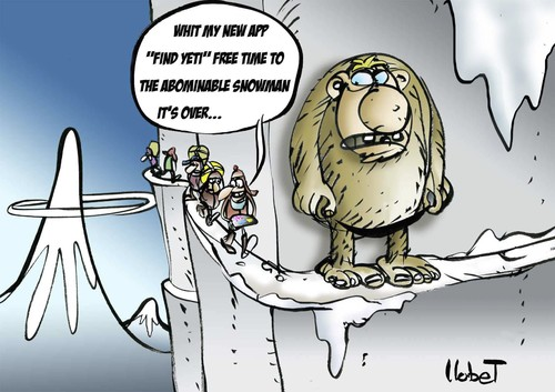 Cartoon: Find Yeti APP (medium) by llobet tagged app,snowman,abominable,yak,yety,yeti