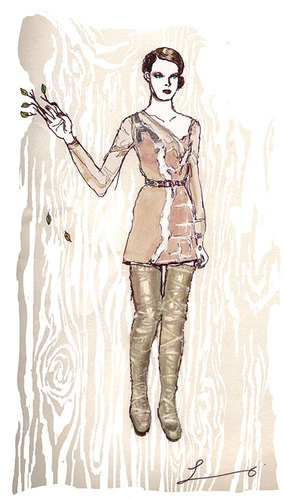 Cartoon: Rodarte Fall 2009 (medium) by lavi tagged redarte,fashion,illustration,wood,tree,boots