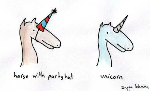 Cartoon: unicorn confusion (medium) by zappablamma tagged unicorn,horse,with,party,hat,confusion,water,colour,paint