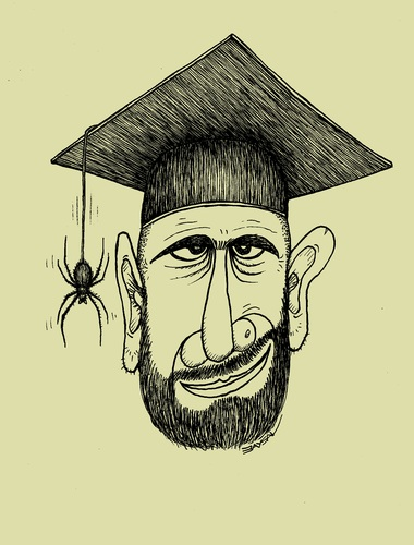 Cartoon: Teacher... (medium) by ercan baysal tagged politic,turkiye,turkey,ercanbaysal,spider,black,illustration,cartoon,ink,line,academic,bigot,untrained,educationalist,education,conservative,academy,faculty,university,grotesk,art,fhandmade,image,picture,draw,lie,nightmare,instructor,teacher,professor