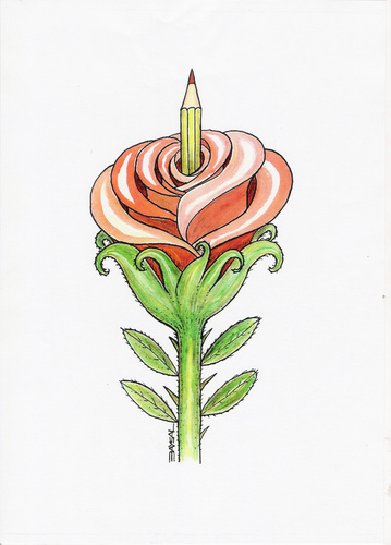 Cartoon: Rose (medium) by ercan baysal tagged handmade,sketch,word,tag,vision,fineart,job,good,banner,greetings,poster,bill,opinion,joy,figure,picture,seed,artist,art,rose,pen,birth,ercan,logo,illustration,ercanbaysal,grafik,humor