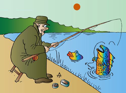 Cartoon: Fishing (medium) by Alexei Talimonov tagged fishing