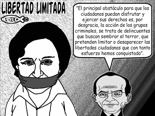 Cartoon: Libertad limitada (medium) by Empapelador tagged mexico,aristegui,libertad,de,expresion,calderon