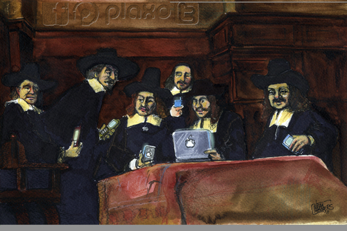 Cartoon: The social network (medium) by jean gouders cartoons tagged art,rembrandt,parody,social,media,art,rembrandt,internet,facebook,mac,apple