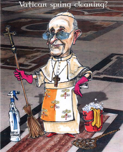 Cartoon: Vatican spring cleaning? (medium) by jean gouders cartoons tagged pope,francis,scandals,pope,francis,scandals