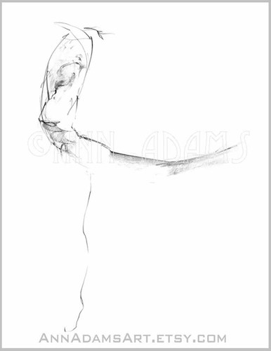 Cartoon: 022 ballet dancing figure sketch (medium) by AnnAdams tagged woman,girl,dance,movement,ballet,pencil,sketch,figure,stroke,squick