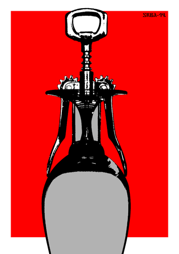 Cartoon: Lady Wine (medium) by srba tagged lady,wine,glass,opener