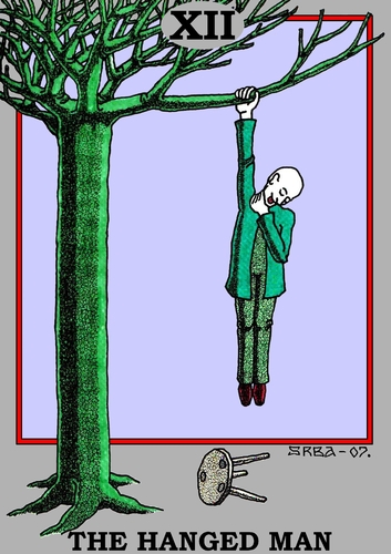 Cartoon: The Hanged Man (medium) by srba tagged tarot,cards,hanged,man