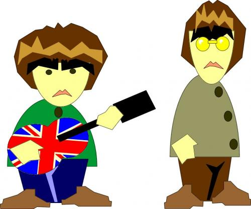 Cartoon: oasis (medium) by markcrossey tagged oasis,noel,liam,manchester,music,rock,and,roll,pop,star
