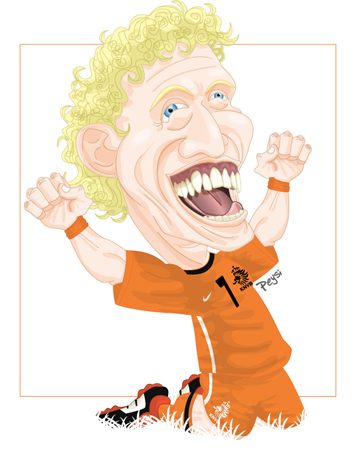 Cartoon: Dirk KUYT (medium) by ELPEYSI tagged dirk,kuyt,holanda,naranja,mecanica