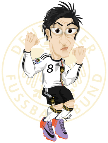 Cartoon: Mesut Özil (medium) by ELPEYSI tagged futbol,mediocampo,alemania,mesut,özil