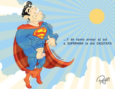 Cartoon: SUPER CHISTATA (medium) by ELPEYSI tagged chistata,cinitis,superman,orinar