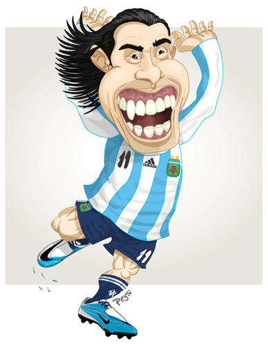 Cartoon: TEVEZ (medium) by ELPEYSI tagged carlitos,tevez,elapache,argentina,albiceleste,11
