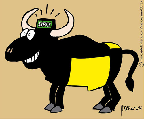 Cartoon: Evolution Bull Free (medium) by marcosymolduras tagged bull,free,fiesta,nacional,cataluna