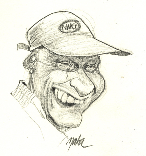 Cartoon: niki lauda laughing? (medium) by kama tagged niki,lauda,laughing