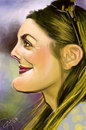 Cartoon: Drew Barrymore (small) by salnavarro tagged finger,painted,caricature,drew,barrymore,hollywood,icon