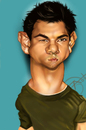 Cartoon: Taylor Lautner (small) by salnavarro tagged finger,painted,ipod,new,moon,taylor,lautner