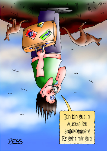 Cartoon: gut angekommen (medium) by besscartoon tagged mann,australien,reise,koffer,tourist,känguru,tourismus,bess,besscartoon