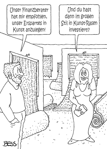 Cartoon: Kunst-Rasen (medium) by besscartoon tagged geld,finanzen,finanzberater,anlegen,kunst,rasen,euro,banken,zinsen,sparer,bess,besscartoon