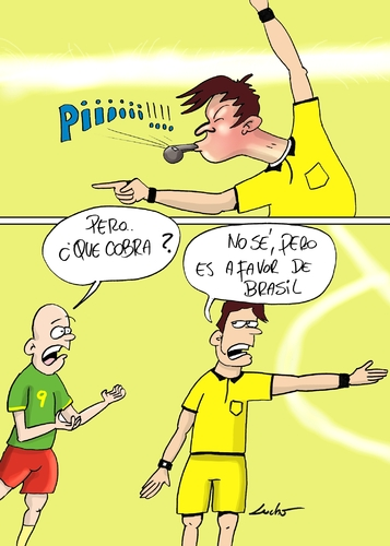Cartoon: brazil referee (medium) by lucholuna tagged brasil2014,brasil,neymar,foul