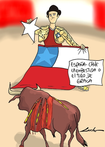 Cartoon: chile y espana (medium) by lucholuna tagged chile,brazil