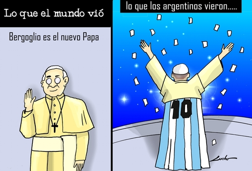 Cartoon: Como ven el Papa en argentina (medium) by lucholuna tagged francisco,papa