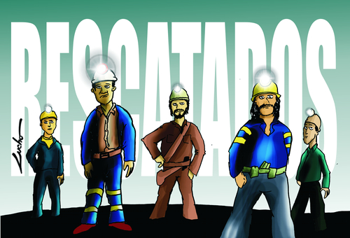 Cartoon: MINEROS CHILENOS (medium) by lucholuna tagged chile,mineros