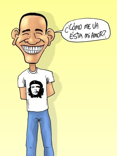 Cartoon: OBAMA GUEVARA (medium) by lucholuna tagged obama