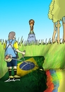 Cartoon: brazil colombia (small) by lucholuna tagged brazil,colombia,neymar,referee,world,cup,football