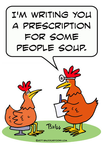 Cartoon: chicken doctor people soup (medium) by rmay tagged chicken,doctor,people,soup