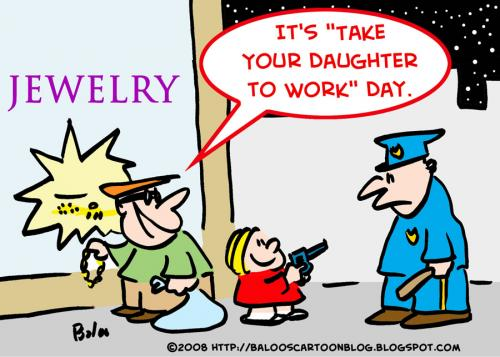 Cartoon: COP BURGLAR GIRL DAUGHTER WORK D (medium) by rmay tagged cop,burglar,girl,daughter,work,day
