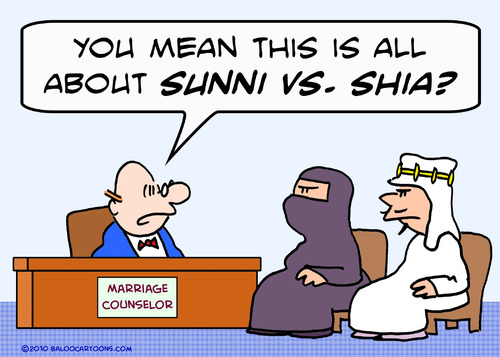 Cartoon: counselor marriage sunni shia (medium) by rmay tagged counselor,marriage,sunni,shia,arabs,islam,muslims