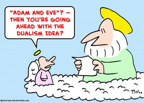 Cartoon: god angel adam eve dualismgod an (medium) by rmay tagged god,angel,adam,eve,dualism